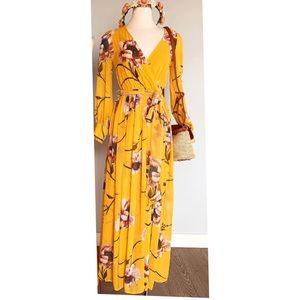 Floral slit maxi dress in mustard